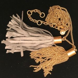 JCREW Gray Leather and Gold Tone Metal Tassel Duo